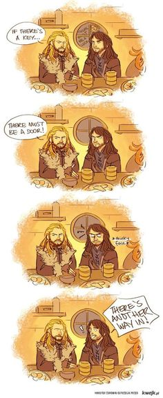 OMFG, if there's a key, there must be a door! (Pinned for Kili's thinky face.) #Hobbit #Fili #Kili