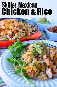 Make my recipe for Skillet Mexican Chicken & Rice a one pot delight perfect for any Mexican food craving you might be having! Mexican Chicken And Rice, Chicken Rice, Best Mexican Recipes, Ethnic Recipes, Cooking Recipes, Healthy Recipes, Yummy Recipes, Recipies, Mexican Dishes