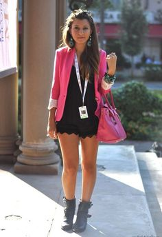 Casual Black and Pink Blazer and the booties, Love it!