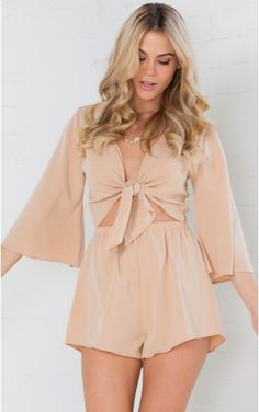 Hands Are Tied playsuit in beige