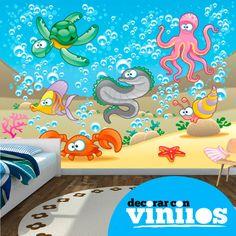 mural decorativo infantil en vinilo de bajo el mar
