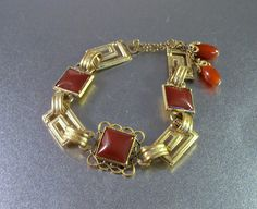 Art Deco Carnelian Bracelet Drawstring Closure by LynnHislopJewels