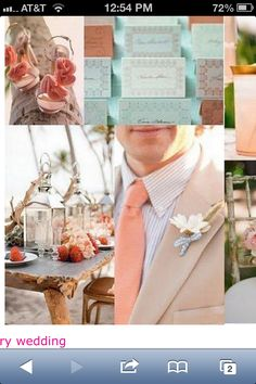 My Wedding colors.....tan, antique blue, coral