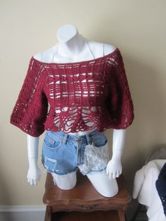 BURGUNDY CROPPED TOP Cropped off shoulder top by Elegantcrochets
