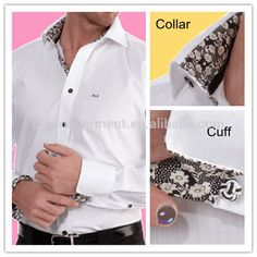 Source Men's fashion white cvc casual shirt with black flower attached inside collar and cuffs on m.alibaba.com