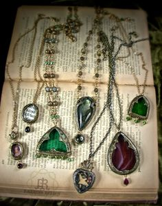 Fifteen Finished. (click to see the rest!) I would like them all. Gothic Elements, Jewelry Accessories, Jewelry Design, Soldering Jewelry, Jewel Box, Stones And Crystals, Wearable Art, Turquoise Necklace, Arrow Necklace