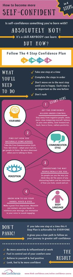 Great tips for gaining self-confidence. Learn more about the 4 Step Confidence Plan #selfconfidence #infographic