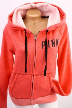 Victorias Secret LOVE PINK Zip Up Hoodie Sweatshirt Pullover NWT ...