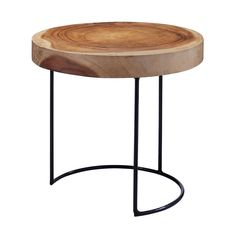 Bring the outdoors in with this rustic yet modern side table, perfect next to a sofa, chair or even in a bedroom.