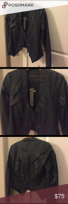 Brand New Vegan Leather Jacket Never worn. Black with fun scallop design. Fits like a small. Jackets & Coats