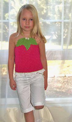 PDF Crochet Pattern Raspberry Apron Top Sz 2-12