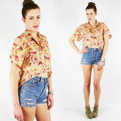 vtg 80s 90s grunge ROSE FLORAL print SILK hi-low FISHTAIL button up shirt top S $38.00