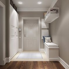 modern corridor design with concrete floor and indirect . modern corridor design with concrete flo Home Design, Flur Design, Interior Design, Design Ideas, White Hallway, Modern Hall, Hallway Decorating, Design Case, Style At Home