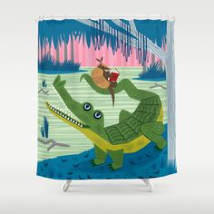 The Alligator And The Armadillo Shower Curtain
