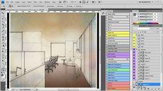 Digital Watercolor Technique - Architectural Rendering - Photoshop