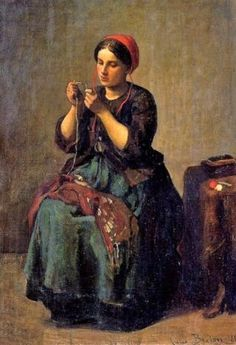 Jules Breton (French Realist Painter, 1827-1906) Peasant Woman Threading a Needle