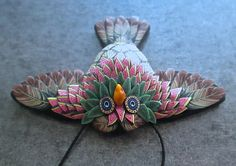 Green Pink Masked Winged Owl Sculpted Millefiori Pendant by Deb Hart