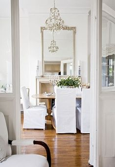 all white elegance in the dining room