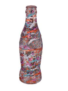 """Skot Foreman Gallery Howard  Finster  """"Coca Cola Bottle"""" 1996 Sculpture marker on solid crystal    7.75 x 2.25 x 2.25 in  20 x 5 x 5 cm Unique Hand-signed in marker by the artist on bottom  """"#38,000 and 443"""""""