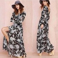 Wish | Summer Elegant Women Long sleeve Backless Floral Printed Party Long Dress