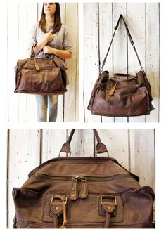 "Handmade Italian Vintage Brown Leather Luggage ""TRAVEL BAG 3"" di LaSellerieLimited su Etsy"