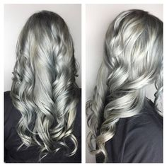 Gray-blue/silver root touch up and tone