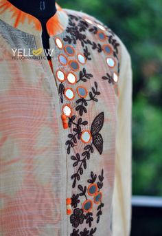Cotton full sleeve Kurti with mirror and thread work comes with a detachable…