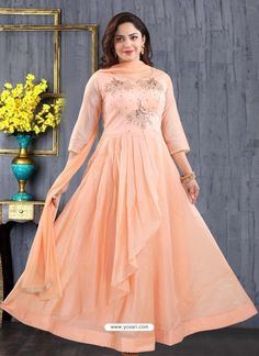 Pretty Peach Georgette Readymade Heavy Designer Suit
