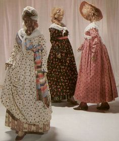 """Day Dresses, c. 1795. The two dresses on the left belong to the Met (left 26.33.7a, b w/ petticoat 26.265.48; center 60.26.3a, b) and the dress on the right belongs to collector Lillian Williams. """"The combinations on the far left, however, are offensive. While period fashion plates do show many odd combinations of color and prints, this combination seems a bit extreme."""" [I believe the petticoat dates from a decade or two earlier than either gown.]"""