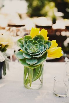 Love the succlent in the mason jar with the pop of yellow color