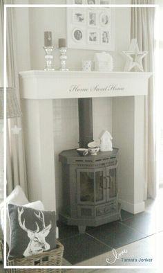 Wood stove x-mas by Tamara Jonker # Houtkachel met schouw # cozy home # kerst # deco # inspirations # woonkamer # living room # landelijke stijl # fireplace