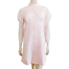 Lace Dress Vintage 1960's Mini Pink Baby Doll