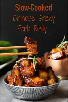 Sticky Chinese Belly Pork - Slow-cooked until meltingly tender and then finished with a spicy sticky glaze.