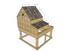 Small Chicken Coop with Planter, Clean Out Tray and Nesting Box