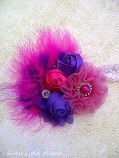 Baby Girls Big Fancy Flower Birthday Headband,Hot Pink Purple Feather Hair Bow Clip,Newborn Photo Prop. $13.99, via Etsy.