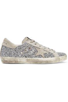 Golden Goose Deluxe Brand | Baskets en cuir à paillettes et en daim brossé Super Star | NET-A-PORTER.COM