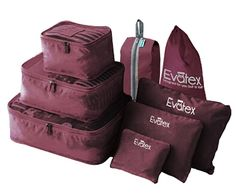 Amazon.com: Evatex Travel Packing Cubes, with Waterproof Shoe, Cosmetic, Diaper, Laundry Bag, Blue, Set of 8: Office Products