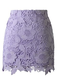 Purple Floral Crochet Skirt