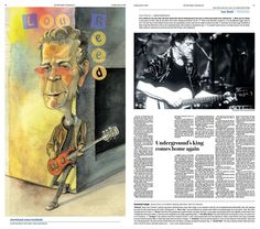 #LouReed #RockHall2015 induction preview. Ted Crow, illustrator; Jane Mitchell, designer; David Kordalski & Josh Crutchmer, art directors
