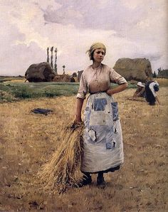 Charles Sprague Pearce (American artist) 1851 - 1914 Gleaners Rest, 1885-90 oil on canvas private collection  Pearce was born at Boston, Massachusetts. In 1873 he became a pupil of Léon Bonnat in Paris, and after 1885 he lived in Paris and at Auvers-sur-Oise. He painted Egyptian and Algerian scenes, French peasants, and portraits, and also decorative work, notably for the Thomas Jefferson Building at the Library of Congress at Washington.