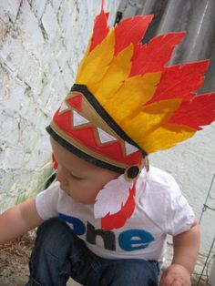 Infant and Children Dress Up Little Indian Pow Wow Chief Indian Headband…