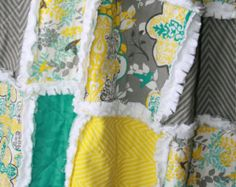 teal yellow and grey bedding - Google Search