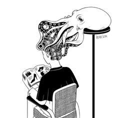 Octopus Salon Art Print by Henn Kim Illustrations, Illustration Art, Henn Kim, Sketch Manga, Salon Art, Photo Images, Wow Art, Black And White Illustration, Photomontage