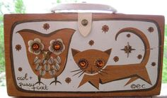 Hold for Raymelle - Vintage Retro Enid Collins 1965 OWL & PUSSY CAT Box Bag Purse