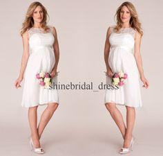 Elegant Lace Short Pregnant Wedding Dresses Empire Chiffon Guest Bridal Gowns