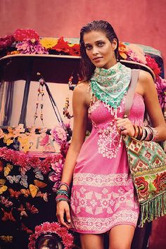 Hot pink boho dress & fringe scarf, modern hippie style fashion