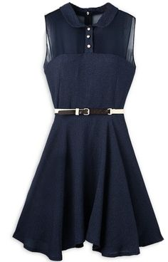 Blue Contrast Sheer Chiffon Sleeveless Ruffles Dress