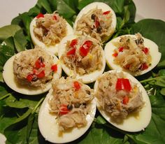 Crab stuffed eggs for your Easter dinner by Chef Darin Sehnert of 700 Drayton Cooking School at the Mansion on Forsyth Park in Savannah! Yummy Appetizers, Appetizer Recipes, Snack Recipes, Great Recipes, Favorite Recipes, Easter Dinner, Down South, Stuffed Eggs, Party Snacks