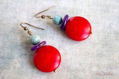 Boho earrings Hippie chic earring stone blood by CocoFlowerShop