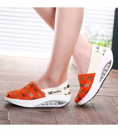 Orange animal print slip on rocker bottom shoe sneaker Shape Up Shoes, Work Party, Shoe Shop, Fashion Wear, Pattern Design, Shoe Boots, Ideias Fashion, Shoes Sneakers, Slip On